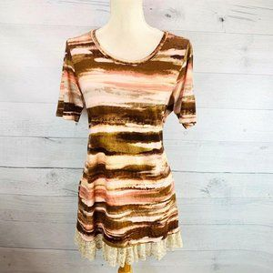 LOGO Lori Goldstein Peach Brown Bronze Tunic Sz S